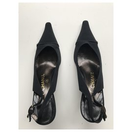 Chanel-Satin Slingbacks-Black