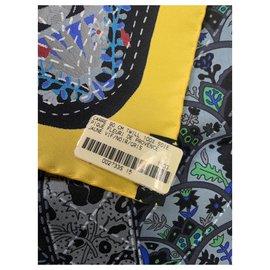 Hermès-HERMES PIQUE FLEURI DE PROVENCE Carré-Black,Yellow