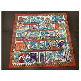 Hermès-HERMES LES TROPHEES Square in twill 100% soie,-Multiple colors