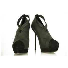 Yves Saint Laurent-Yves Saint Laurent YSL black elasticated fabric & suede platform booties 40-Black