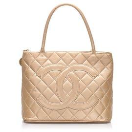 Chanel-Chanel Gold Metallic Medallion Lambskin Leather Tote Bag-Golden
