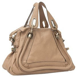 Chloé-Chloe Brown Small Paraty Leather Satchel-Brown,Beige