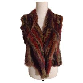 Antik Batik-Gilet fourrure en Lapin Tricoté-Multicolore