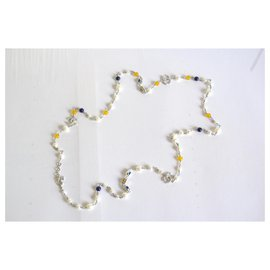 Chanel-Long necklaces-White,Yellow,Navy blue,Silver hardware