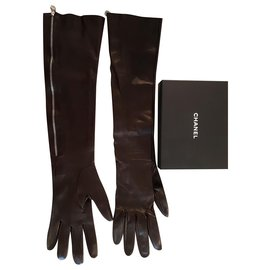 Chanel-Chanel long leather gloves-Brown
