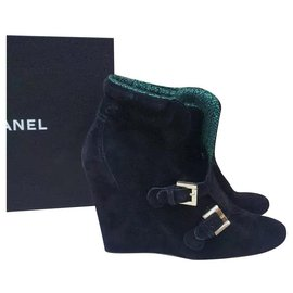 Chanel-Chanel  Black Suede Tweed Wedge Ankle Boots Booties Sz. 39-Black