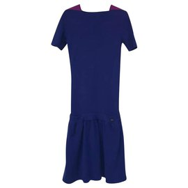 Chanel-CHANEL Deep Slye Knitted Wool Dress Sz 36-Blue