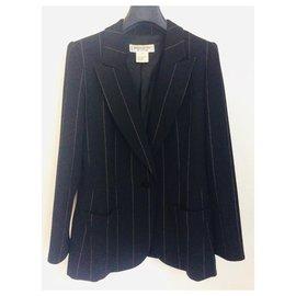 Yves Saint Laurent-Pinstriped black wool blazer-Black