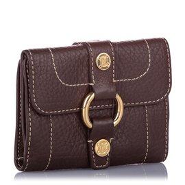 Céline-Celine Brown Leather Small Wallet-Brown,Dark brown