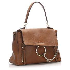 Chloé-Chloe Brown Faye Day Leather Satchel-Brown