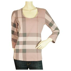 Burberry-Burberry Brit Pink Hues 3/4 Sleeve Nova Check Round neckline T- Shirt top size M-Pink