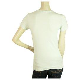 Céline-Top T-Shirt à Manches Courtes Femme Celine Bleu Clair Pailleté Poissons - Taille S-Bleu