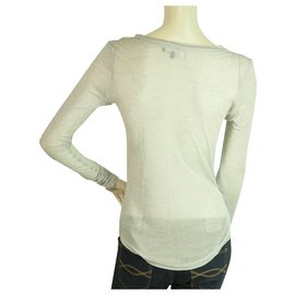 Isabel Marant Etoile-Isabel Marant Etoile Blouse à manches longues en cachemire et soie gris clair taille S-Gris