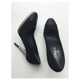 Chanel-Suede, Satin & Gold Heels-Black,Gold hardware
