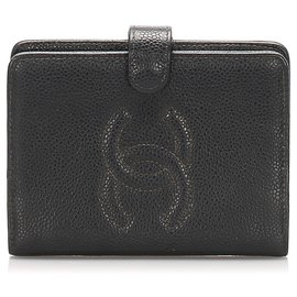 Chanel-Chanel Black CC Caviar Leather Wallet-Black