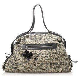 Chanel-Chanel Brown Clover Cotton Travel Bag-Brown,Black,Beige