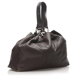 Yves Saint Laurent-YSL Brown lined Sac Y Leather Tote Bag-Brown,Dark brown