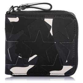 Valentino-Valentino Black Camo Star Zip Around Canvas Small Wallet-Black,White