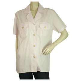 Moschino-Moschino Jeans Chemise boutonnée à manches courtes rose Top Summer Print Back Size L-Rose