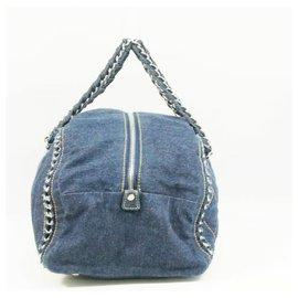 Chanel-CHANEL chain shoulder Womens Boston bag Navy x silver hardware-Navy blue,Silver hardware