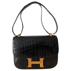 Hermès-Hermes Constance schwarzes Krokodil-Schwarz