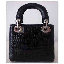 Dior-MINI LADY DIOR ALLIGATOR BAG-Black