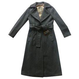 Marella-Manteau long en laine mélangée-Gris anthracite