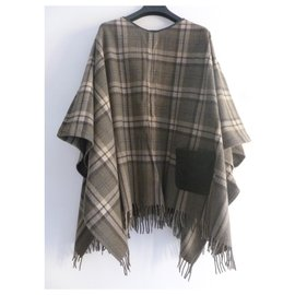 Max & Co-Poncho / cape en laine mélangée et cuir véritable-Marron,Taupe