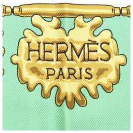 Hermès-Hermes Green Printed Silk Scarf-Multiple colors,Green