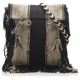 Yves Saint Laurent-YSL Black Anita Canvas Shoulder Bag-Black,White,Cream