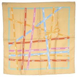 Hermès-Hermes Brown Printed Silk Scarf-Brown,Multiple colors,Beige