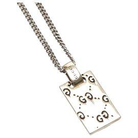 Gucci-Gucci Silver Ghost Tag Pendant Necklace-Silvery