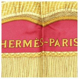 Hermès-Hermes Red Printed Silk Scarf-Red,Multiple colors
