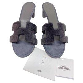 Hermès-Hermes oasis vison rase sandal gris fumee neuf-Grey