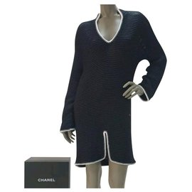 Chanel-Chanel  CC Logo Knitted Dress Sz 38-Black