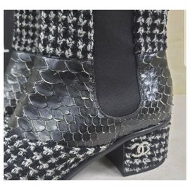 Chanel-Chanel  Black White Tweed Python Ankle Boots Booties Sz. 38-Multiple colors