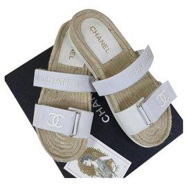 Chanel-CHANEL CC Logo Textile Flat Sandals Slippers Flip Flops  Sz.41-White