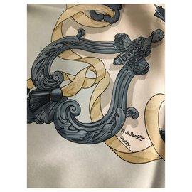 Hermès-Square Hermes-Beige,Eggshell,Dark grey,Light blue