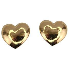 Yves Saint Laurent-golden hearts earrings-Gold hardware