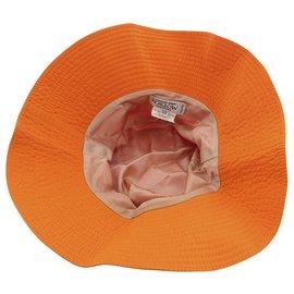 Hermès-Hermes Orange Bucket Nylon Hat-Orange