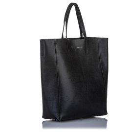 Céline-Celine Black Small Vertical Cabas Leather Tote Bag-Black