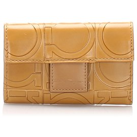 Autre Marque-Ferragamo Brown Gancini Embossed Leather Key Case-Brown,Light brown