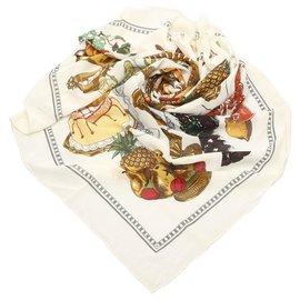 Hermès-Hermes White Gastronomie Silk Scarf-White,Multiple colors