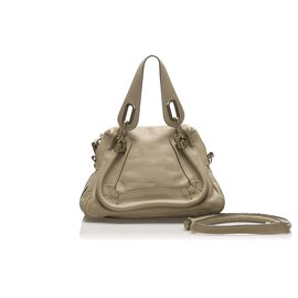 Chloé-Chloe Gray Small Paraty Leather Satchel-Grey