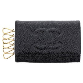 Chanel-Chanel Black CC Caviar Leather Key Holder-Black