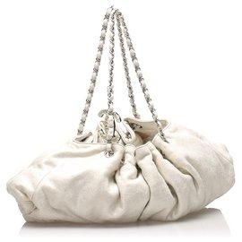 Chanel-Chanel White CC Cabas Cotton Tote Bag-White