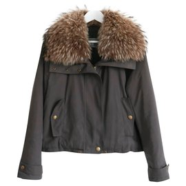 Yves Salomon-Fur Collar Short Jacket-Khaki