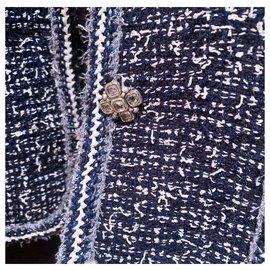 Chanel-9Manteau en tweed fantaisie K $-Bleu Marine