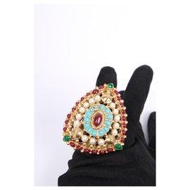 Chanel-Chanel Paris Dallas ring with Gripoix stones-Golden