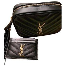 Yves Saint Laurent-YSl lou belt bag IN MATELASSÉ LEATHER dark smog color-Black